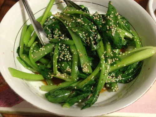 2013-03-31 choy sum with soy  and sessame seeds